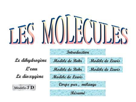 LES MOLECULES Le dihydrogène L'eau Le dioxygène Introduction