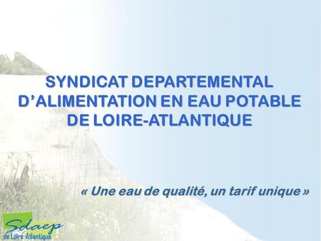 SYNDICAT DEPARTEMENTAL D'ALIMENTATION EN EAU POTABLE