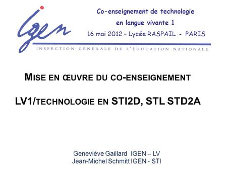 Co-enseignement de technologie