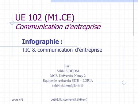 Cours n°1ue102.M1.com-ent(S. Sidhom) UE 102 (M1.CE) Communication dentreprise Infographie : TIC & communication dentreprise Par : Sahbi SIDHOM MCF. Université