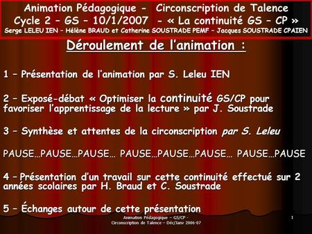 Animation Pédagogique – GS/CP - Circonscription de Talence – Déc/Janv 2006-07 1 Animation Pédagogique - Circonscription de Talence Cycle 2 – GS – 10/1/2007.