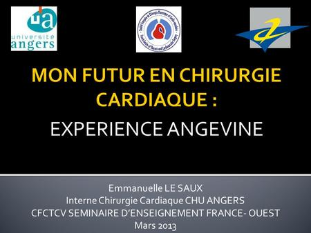 EXPERIENCE ANGEVINE Emmanuelle LE SAUX Interne Chirurgie Cardiaque CHU ANGERS CFCTCV SEMINAIRE DENSEIGNEMENT FRANCE- OUEST Mars 2013.