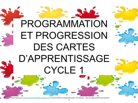 PROGRAMMATION ET PROGRESSION DES CARTES D'APPRENTISSAGE