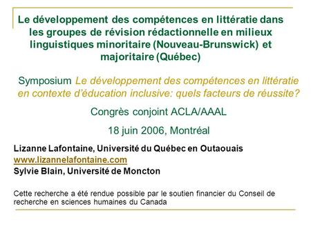 Congrès conjoint ACLA/AAAL