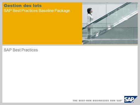 Gestion des lots SAP Best Practices Baseline Package SAP Best Practices.