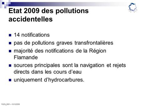 PLEN_0901 – 10/12/2009 Etat 2009 des pollutions accidentelles 14 notifications pas de pollutions graves transfrontalières majorité des notifications de.