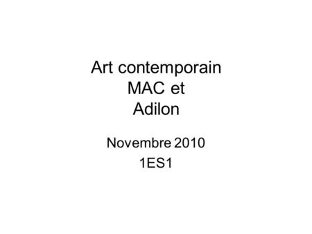 Art contemporain MAC et Adilon Novembre 2010 1ES1.