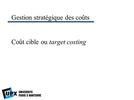 Coût cible ou target costing