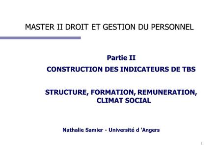 1 MASTER II DROIT ET GESTION DU PERSONNEL Partie II CONSTRUCTION DES INDICATEURS DE TBS STRUCTURE, FORMATION, REMUNERATION, CLIMAT SOCIAL Nathalie Samier.