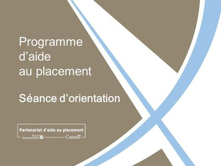 Programme daide au placement Séance dorientation.