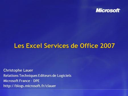 Les Excel Services de Office 2007