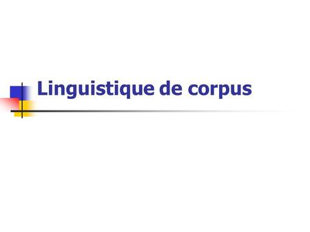 Linguistique de corpus
