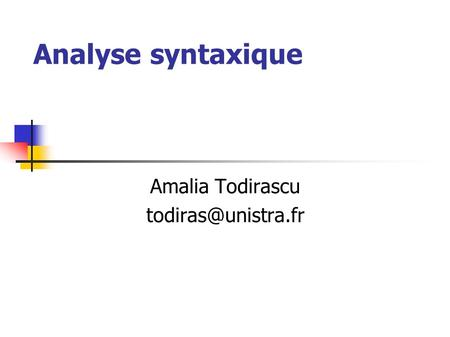 Analyse syntaxique Amalia Todirascu