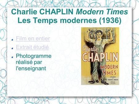 histoire des arts 171 les temps modernes 187 de chaplin 1936 ppt t 233 l 233 charger