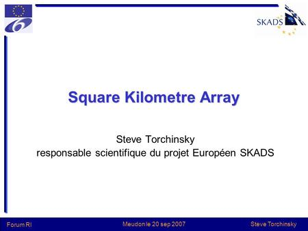 Steve Torchinsky Forum RI Meudon le 20 sep 2007 Square Kilometre Array Steve Torchinsky responsable scientifique du projet Européen SKADS.
