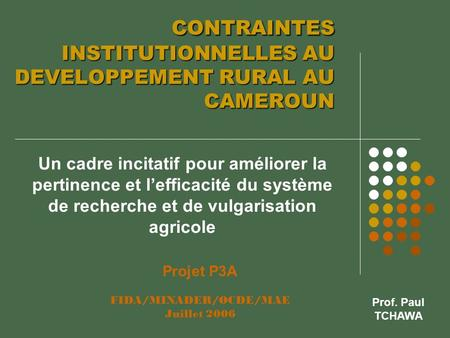 CONTRAINTES INSTITUTIONNELLES AU DEVELOPPEMENT RURAL AU CAMEROUN CONTRAINTES INSTITUTIONNELLES AU DEVELOPPEMENT RURAL AU CAMEROUN Un cadre incitatif pour.