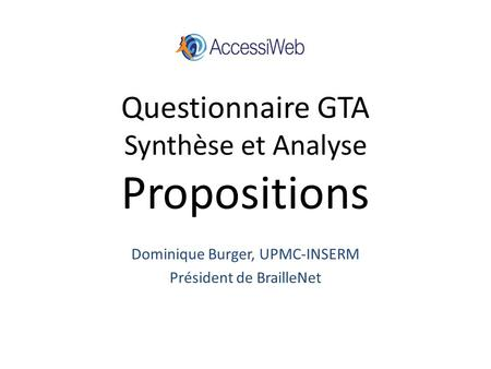 Questionnaire GTA Synthèse et Analyse Propositions