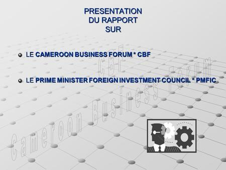 PRESENTATION DU RAPPORT SUR LE CAMEROON BUSINESS FORUM * CBF LE PRIME MINISTER FOREIGN INVESTMENT COUNCIL * PMFIC.