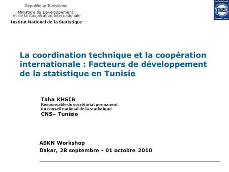 ASKN Workshop Dakar, 28 septembre - 01 octobre 2010