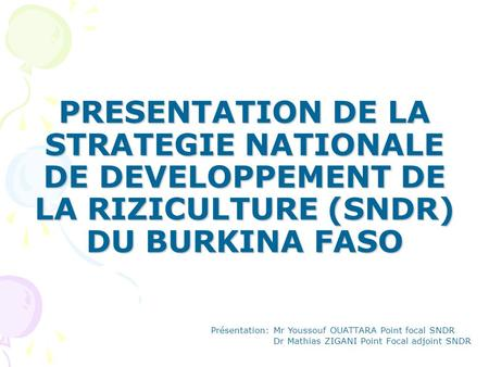 PRESENTATION DE LA STRATEGIE NATIONALE DE DEVELOPPEMENT DE LA RIZICULTURE (SNDR) DU BURKINA FASO Présentation: Mr Youssouf OUATTARA Point focal SNDR Dr.