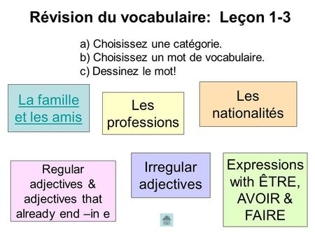 Révision du vocabulaire: Leçon 1-3 La famille et les amis Les professions Les nationalités Regular adjectives & adjectives that already end –in e Irregular.