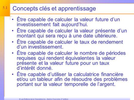 © 2003 The McGraw-Hill Companies, Inc, All rights reserved, Une initiation à lévaluation : la valeur de rendement de largent Chapitre 5.