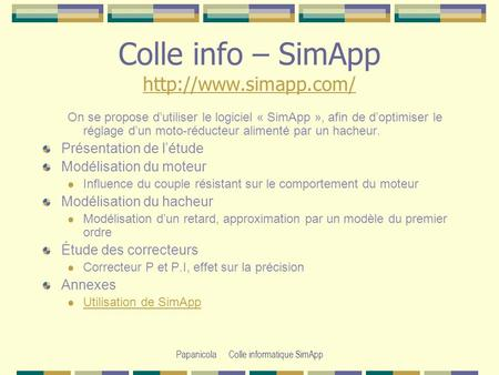 Papanicola Colle informatique SimApp Colle info – SimApp   On se propose dutiliser le logiciel « SimApp »,