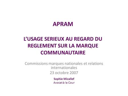 Commissions marques nationales et relations internationales