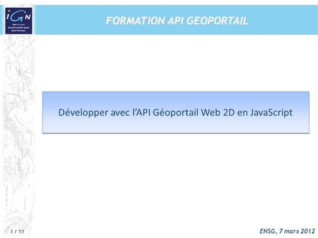 FORMATION API GEOPORTAIL