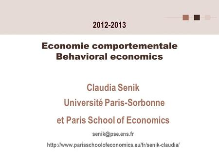 Economie comportementale Behavioral economics