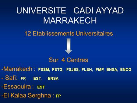UNIVERSITE CADI AYYAD MARRAKECH