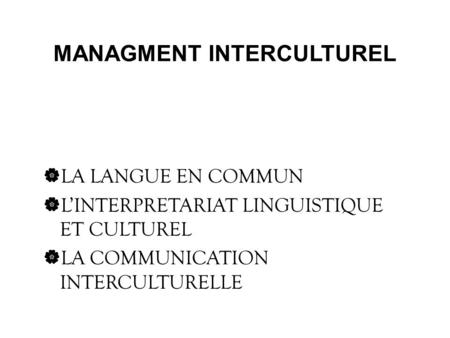 MANAGMENT INTERCULTUREL