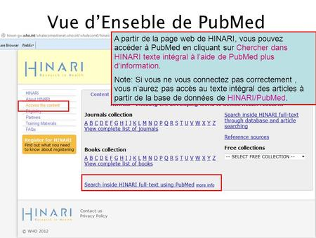 Vue d'Enseble de PubMed
