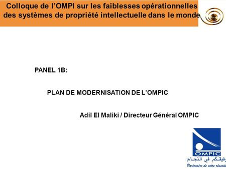 PLAN DE MODERNISATION DE L'OMPIC