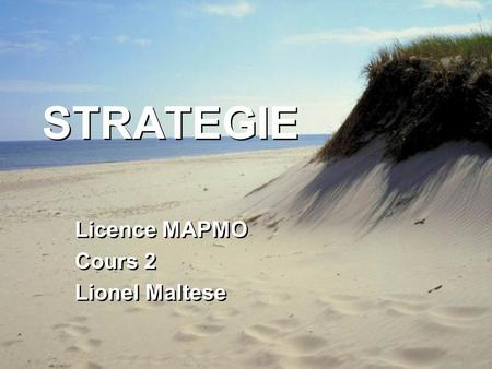STRATEGIE Licence MAPMO Cours 2 Lionel Maltese Licence MAPMO Cours 2 Lionel Maltese.