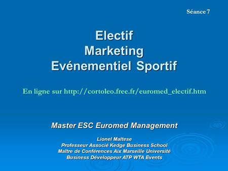 Electif Marketing Evénementiel Sportif