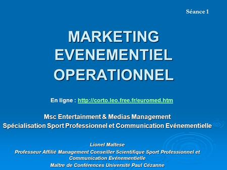 MARKETING EVENEMENTIEL OPERATIONNEL