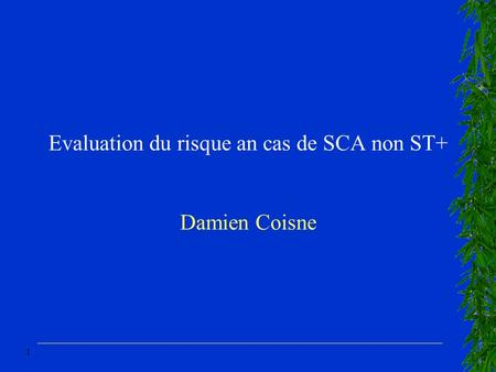 1 Evaluation du risque an cas de SCA non ST+ Damien Coisne.