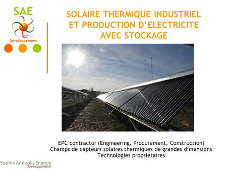 Développement SAE SOLAIRE THERMIQUE INDUSTRIEL ET PRODUCTION DELECTRICITE AVEC STOCKAGE EPC contractor (Engineering, Procurement, Construction) Champs.