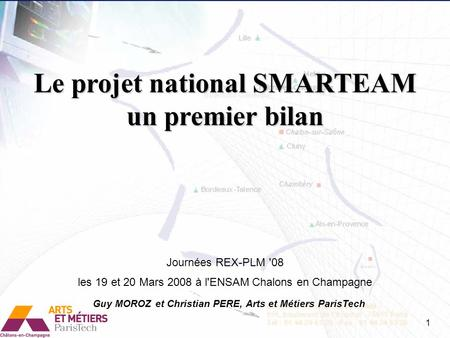 Le projet national SMARTEAM un premier bilan