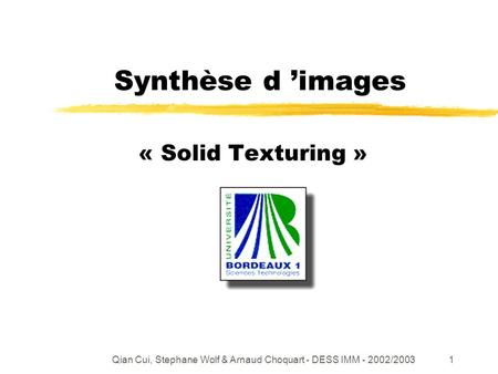 Qian Cui, Stephane Wolf & Arnaud Choquart - DESS IMM - 2002/20031 Synthèse d images « Solid Texturing »