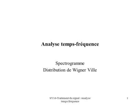 Analyse temps-fréquence