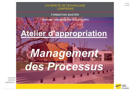 Atelier d'appropriation Management des Processus