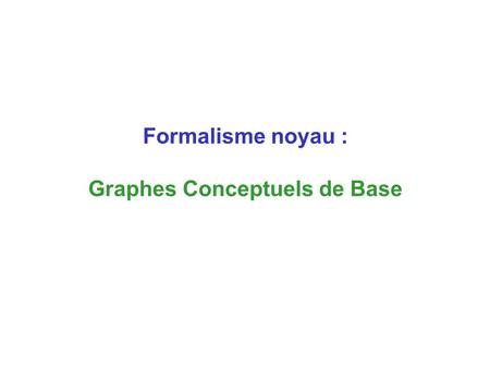 Formalisme noyau : Graphes Conceptuels de Base. Ball:* Cube:* Ball:* Color:* Cube:A between carac onTop Labels are taken in the vocabulary (or support)