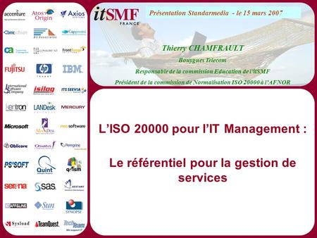 L'ISO pour l'IT Management :