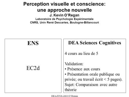DEA Sciences Cognitives
