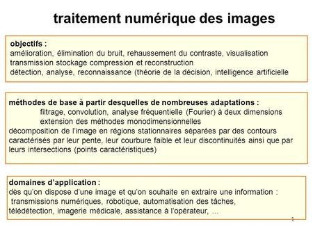 1 traitement numérique des images objectifs : amélioration, élimination du bruit, rehaussement du contraste, visualisation transmission stockage compression.