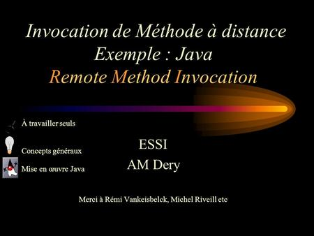 Invocation de Méthode à distance Exemple : Java Remote Method Invocation ESSI AM Dery Merci à Rémi Vankeisbelck, Michel Riveill etc À travailler seuls.