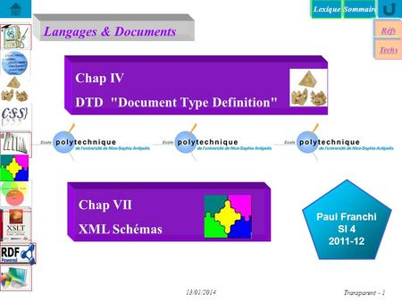 SommaireLexique Langages & Documents Réfs Paul Franchi SI 4 2011-12 Techs 13/01/2014 Transparent - 1 Chap IV DTD Document Type Definition Chap VII XML.