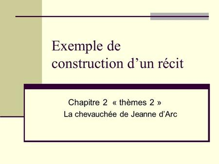 Exemple de construction d'un récit